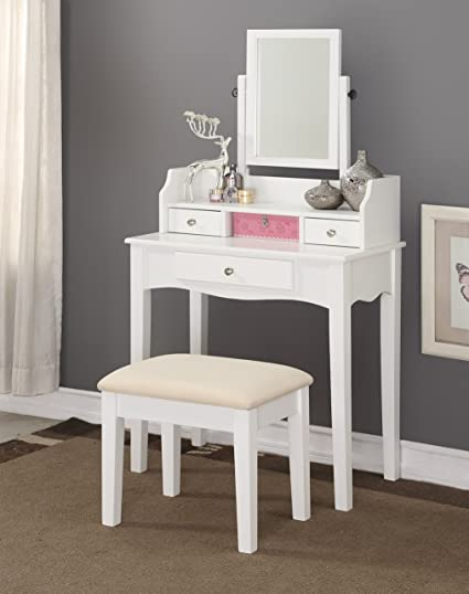 Incroyable Modern Wood Make Up Mirror Vanity Dresser Table And Stool Set, White