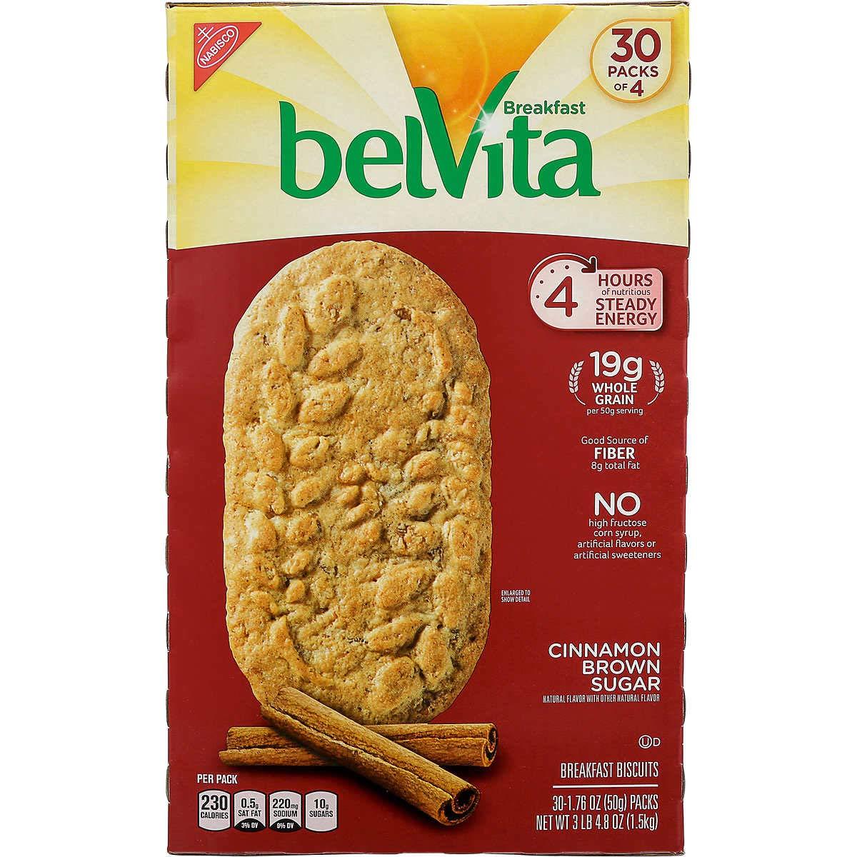 Belvita Cinnamon Brown Sugar Biscuits, 1.76 oz, 30Count, 4 Pack