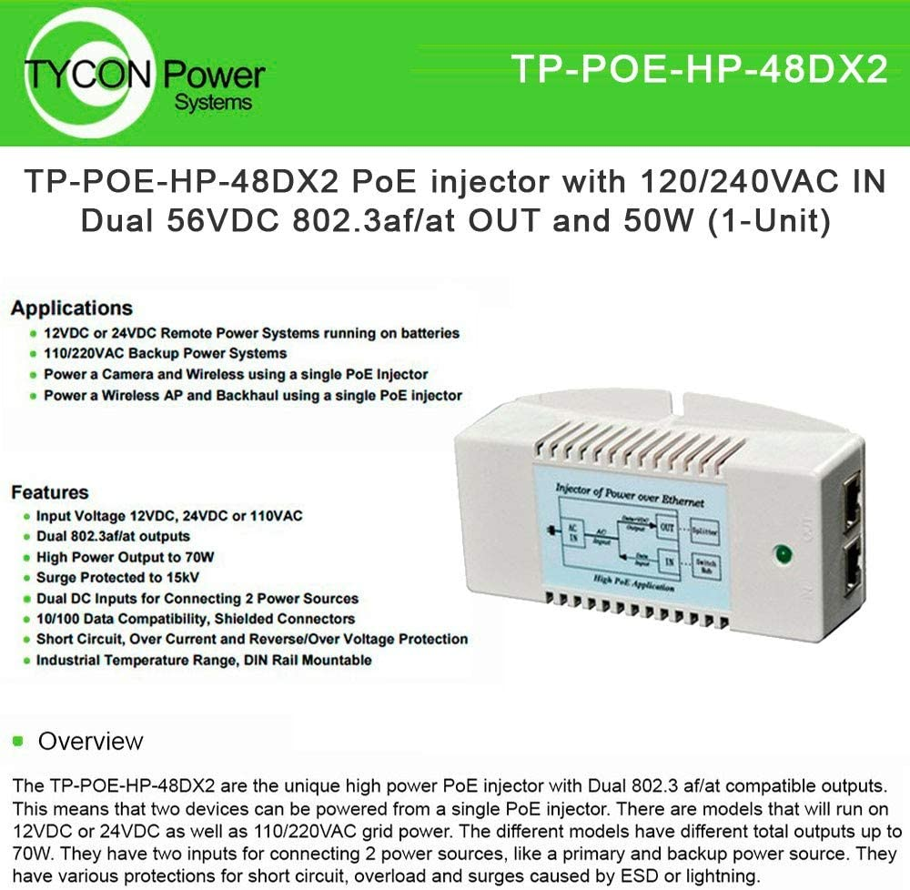 Tycon Power TP-POE-HP-48DX2 PoE Injector w/ 120/240VAC in Dual 56VDC 802.3af/at Out and 50W