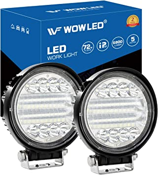 Wowled Led Work Light 2pcs 5 72w Round Led Light Pods Spot Flood Combo Lights 6d Offroad Driving Work Fog Lights Ip67 For Trucks Car New Arrival Amazon Co Uk Car Motorbike