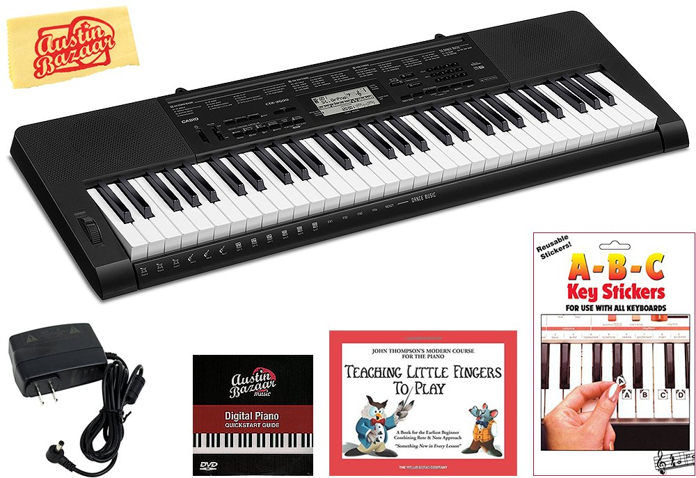 Casio CTK-3500 Portable Keyboard Bundle with Power Supply, Removeable Stickers, Instructional Book, Austin Bazaar Instructional DVD, and Polishing Cloth by Casio
