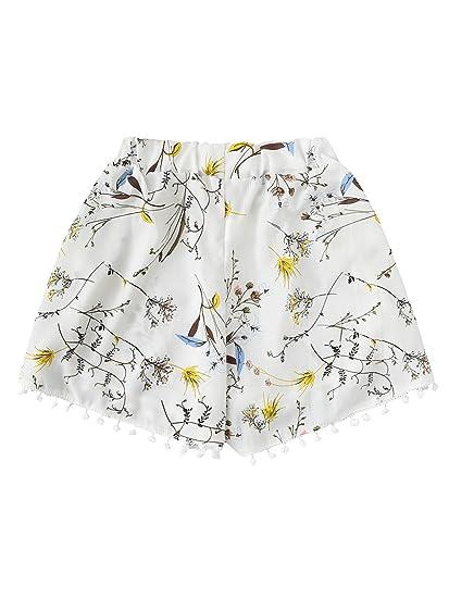 16b840ca34 Romwe Women's Floral Print Random Pom Pom Trim Elastic Mid Waist Wide Leg  Beach Shorts at Amazon Women's Clothing store: