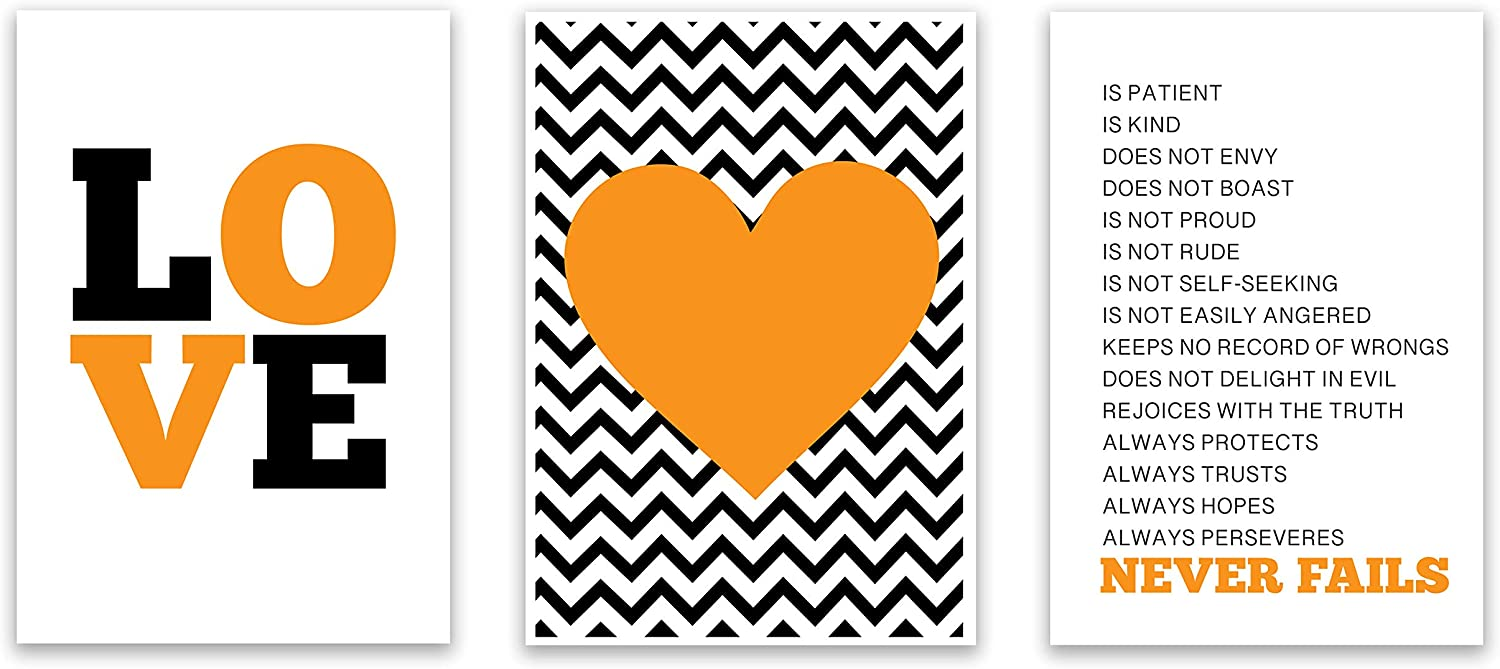 The Proverbs Store Love Never Fails Motivational & Inspirational Christian Religious & Spiritual Home Wall Art Décor Gift Set   Signs, Posters, Prints & Arwork of Bible Verse (13 x 19, Orange)