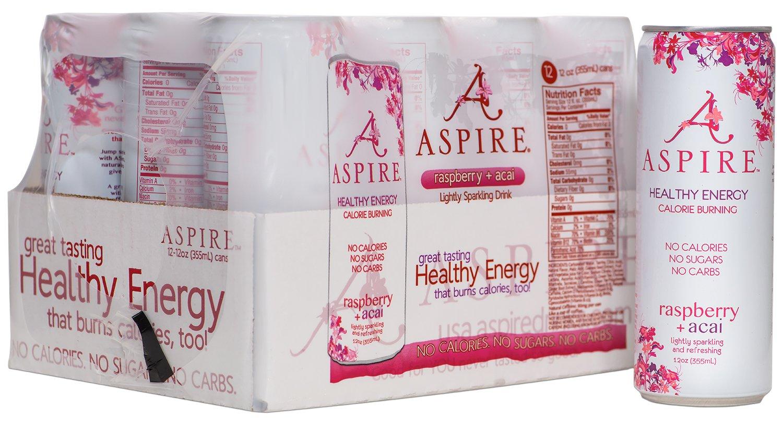 ASPIRE Healthy Energy, Calorie Burning, Zero Calorie, Zero Sugar Drink Raspberry + Acai 12 count case