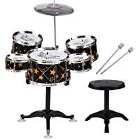Sangmei Kids Children Jazz Drum Set 5PCS Drums with Cymbal Drumsticks Adjustable Stool with Music Ligthing Vibration…