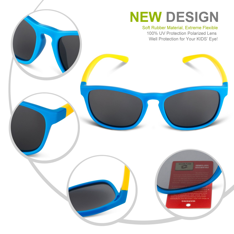 RIVBOS rbk891 goma flexible niños polarizadas gafas de sol edad para bebé y niños 3 - 10: Amazon.es: Deportes y aire libre