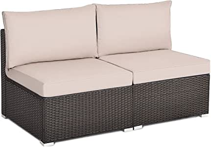 Tangkula 2 PCS Outdoor Wicker Armless Sofa, Patio Rattan Sectional Sofa Set w/2 Thick Cushions and 2 Pillows, Additional Seats for Balcony Garden Patio Poolside (Brown)