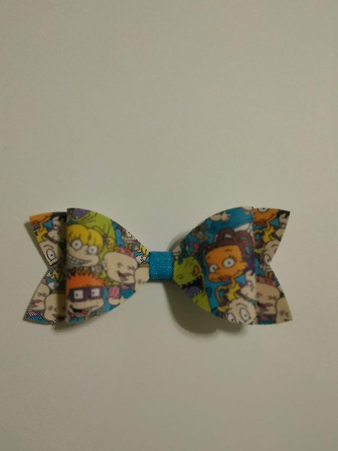 Rugrats Hair bow, Faux Leather hair bow, 90s cartoon bow, mini hair bow, 4' hair bow, toddler hair bow, Rugrats birthday hair bow