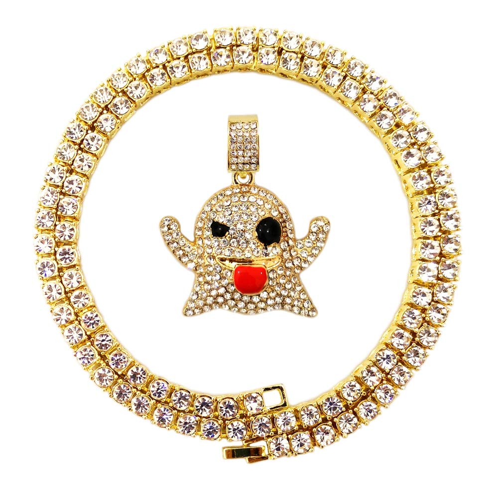 1a8b62c23 HH Bling Empire Mens Hip Hop Bling Iced Out 14K Gold Artificial Diamond  Cartoon Characters cz Tennis Chain Necklace 22 Inch (Ghost)