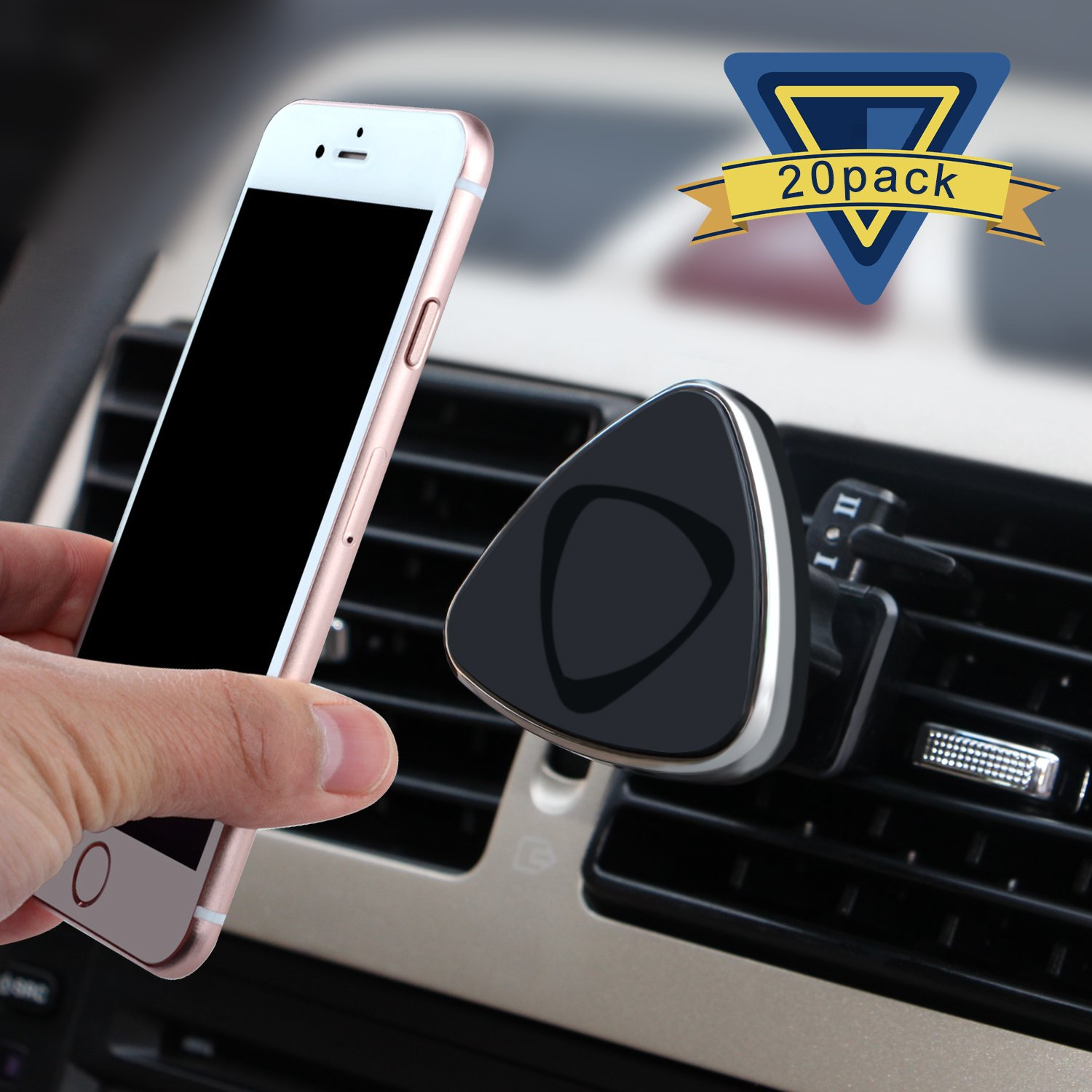 Car Mount, ilikable 20 Pack Air Vent Magnetic Car Holder 360 Degree Rotation Car Cradle for Smartphone iPhone Android GPS-Black