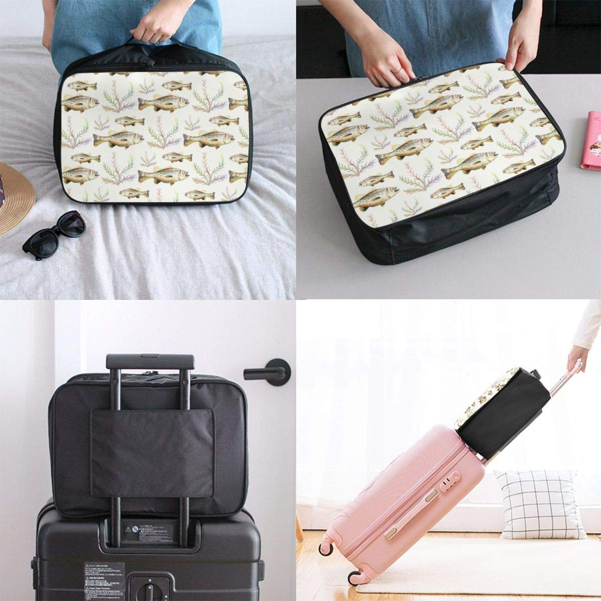 Travel Lightweight Waterproof Foldable Storage Carry Luggage Duffle Tote Bag Watercolor Bass Fish Seaweed JTRVW Luggage Bags for Travel