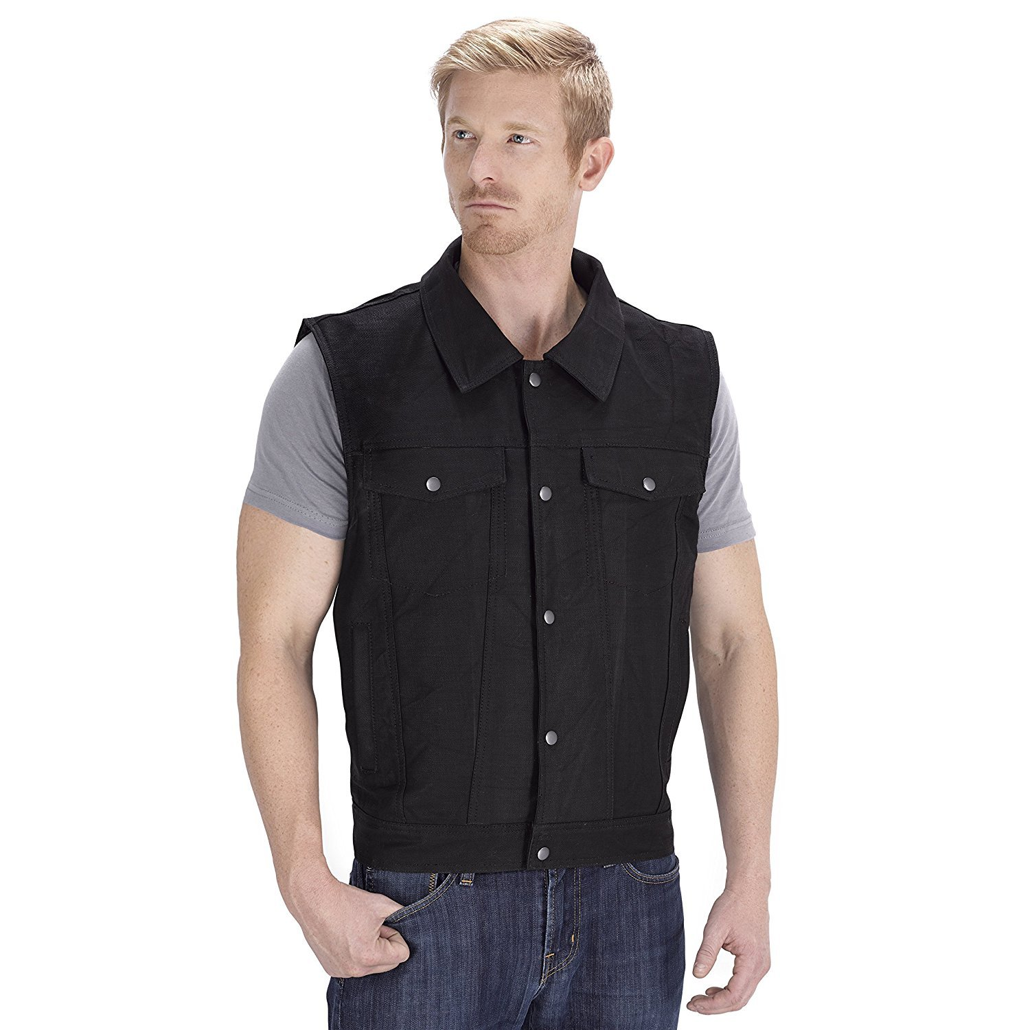 Viking Cycle Freedom Denim Motorcycle Vest (Black, 2X-Large)