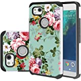 Google Pixel 2 XL Case, Linkertech [Shock Absorption] Heavy Duty Defender Dual Layer Protector Hybrid Case Cover for Google Pixel 2 XL (2017) (Peony)