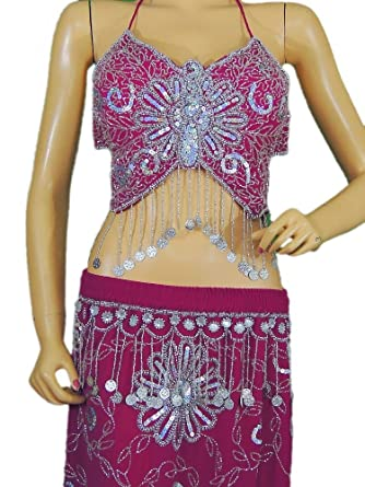 68a1d584f2cd Pink Belly Dance Costume Exotic Dancer Clothing Halter Choli Bra Coin Skirt  M