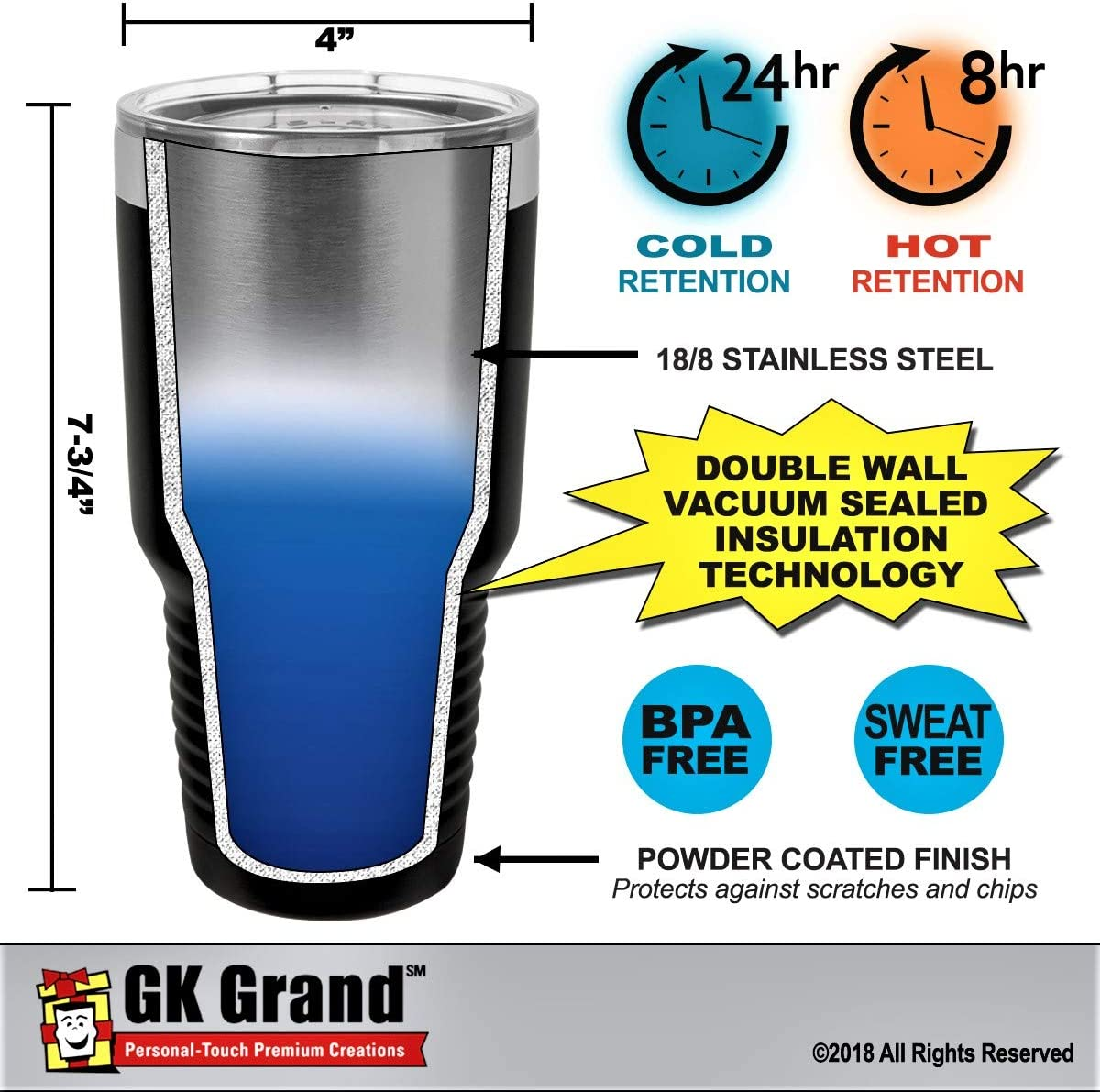 """Navy Blue, 30oz GIFT FOR DADDY /""""World/'s Greatest Daddy/"""" Engraved GK Grand Stainless Steel Tumbler Vacuum Insulated Large Travel Coffee Mug Hot /& Cold Drinks Christmas Birthday Fathers Day Dad Gift"""
