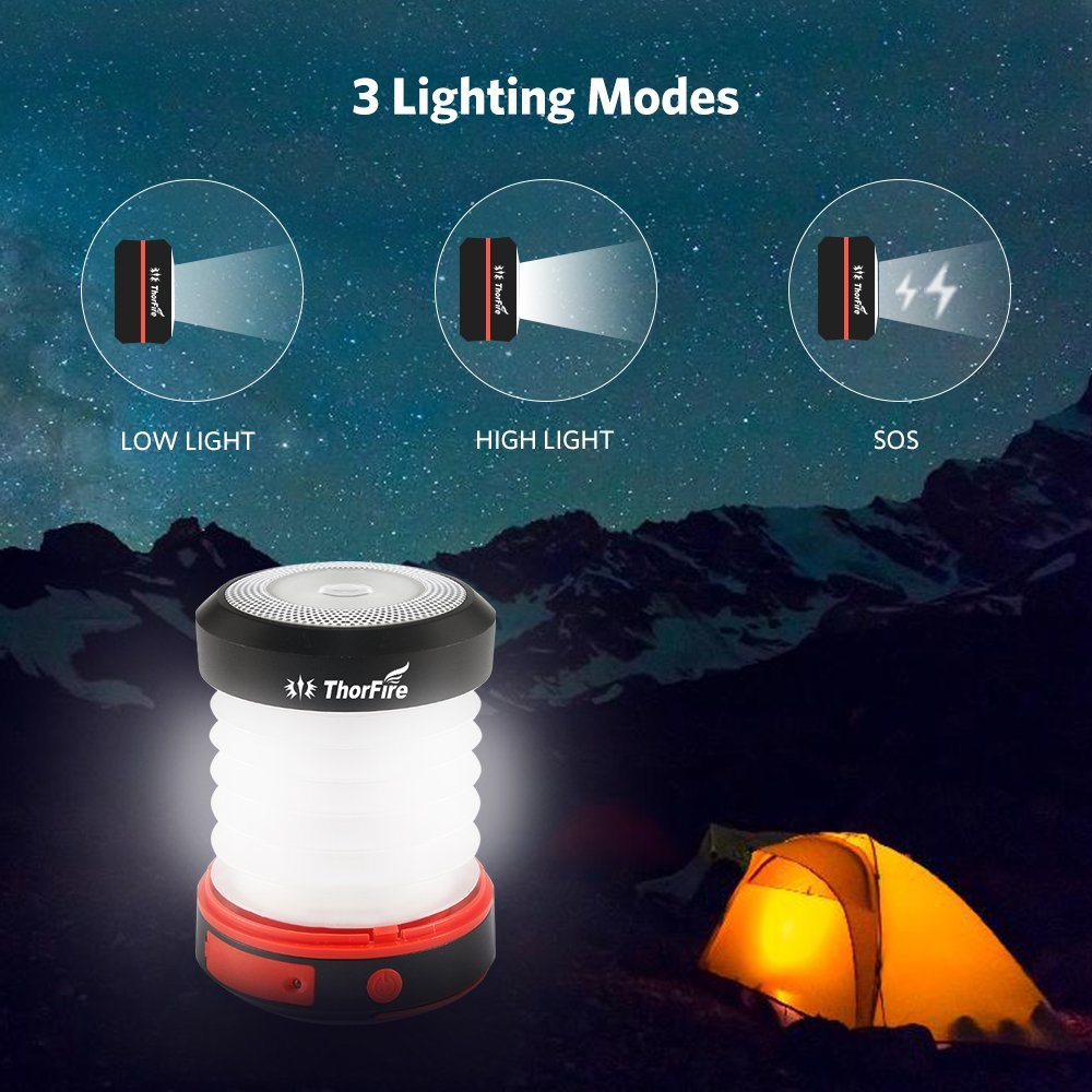 Thorfire Camping Lantern USB Rechargeable Solar Powered Emergency Light LED Camping Tent Light Lamp Portable Flashlight Safe Light for Camping Hiking Jogging Night Walking -CL04 by Thorfire (Image #3)