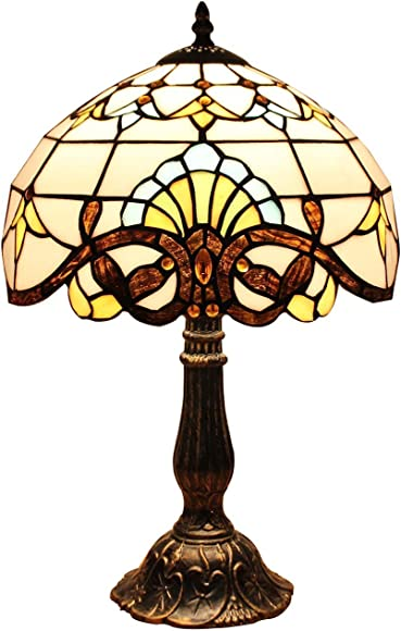 Bieye L10641 Baroque Tiffany Style Stained Glass Table Lamp Night Light