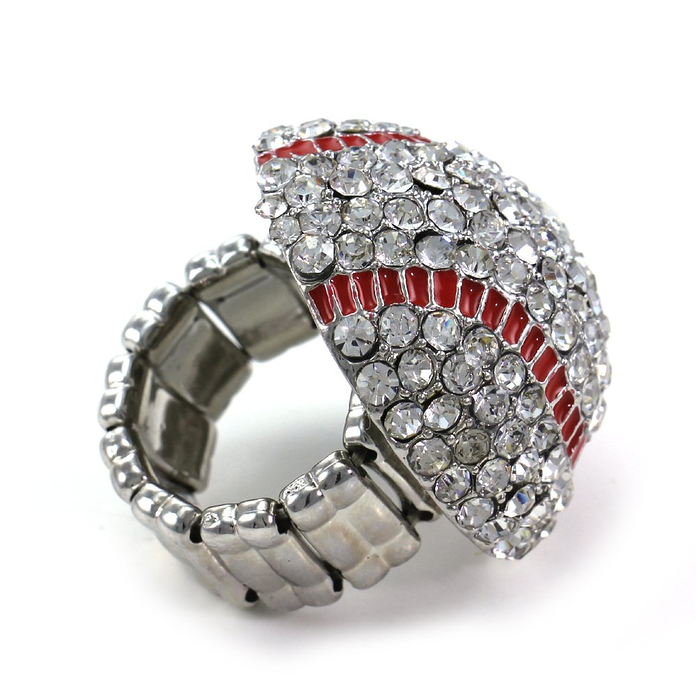 Baseball Sports Ring Red Enamel Clear Rhinestones by Soulbreezecollection (Image #3)