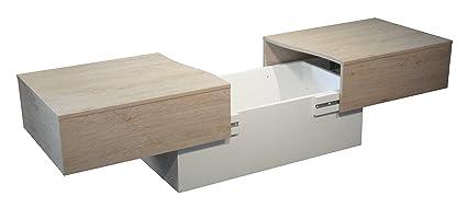 acheter populaire b471d 7c0e1 Berlioz Creations Table Basse City Box chêne cérusé et blanc, Bois, Chêne  cérusé et Blanc, 123 x 51 x 43 cm