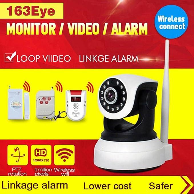 DongAshley Cámara De Seguridad Cámara De Audio Vision Nocturna Cámara De Seguridad De Internet Inalámbrica Video De Alarma Empuje De Alarma Mando A ...
