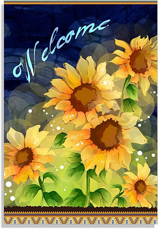 Yilooom Decorative Sunflower Garden Flag Sunflower Welcome Outdoors Flags Of Double Sided Welcome Banners 12x18 Inch Home Kitchen