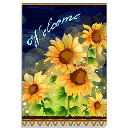 Beau StarflowsS Decorative Sunflower Garden Flag Sunflower Welcome Outdoors Flags  Of Double Sided Welcome Banners 28x40 Inch