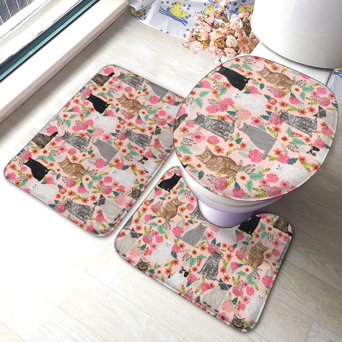 Hustor - Alfombra de baño con diseño de gato con motivos florales y razas mixtas de espuma viscoelástica antideslizante para el asiento del inodoro