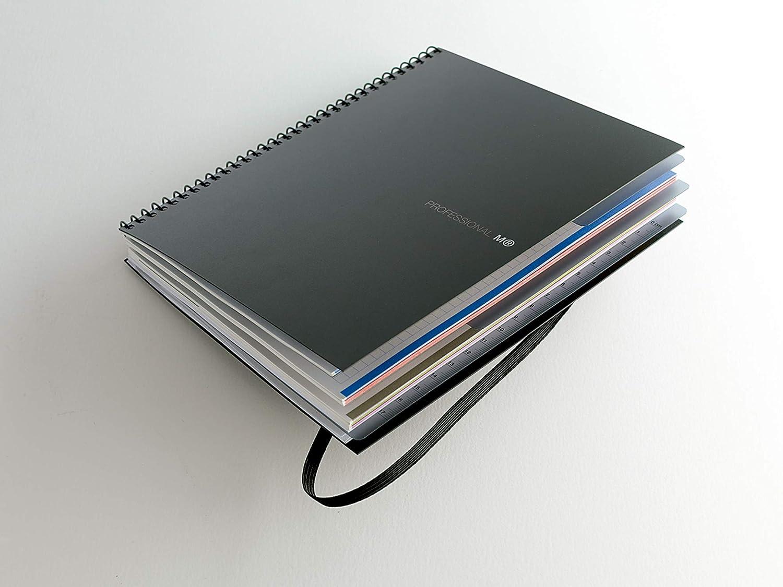 20 glattes Polypropylen Schwarz 100 kariert 120 Blatt Miquelrius Evolution Professional Notizbuch A4