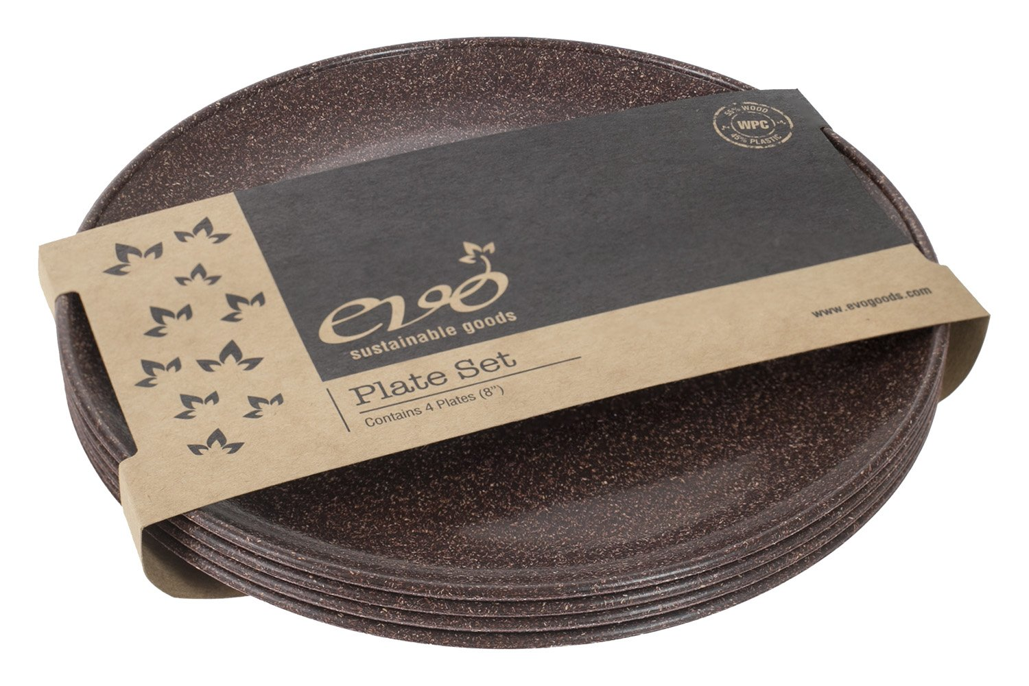 EVO Sustainable Goods 8'' Plate, Set of Four, Dark Brown