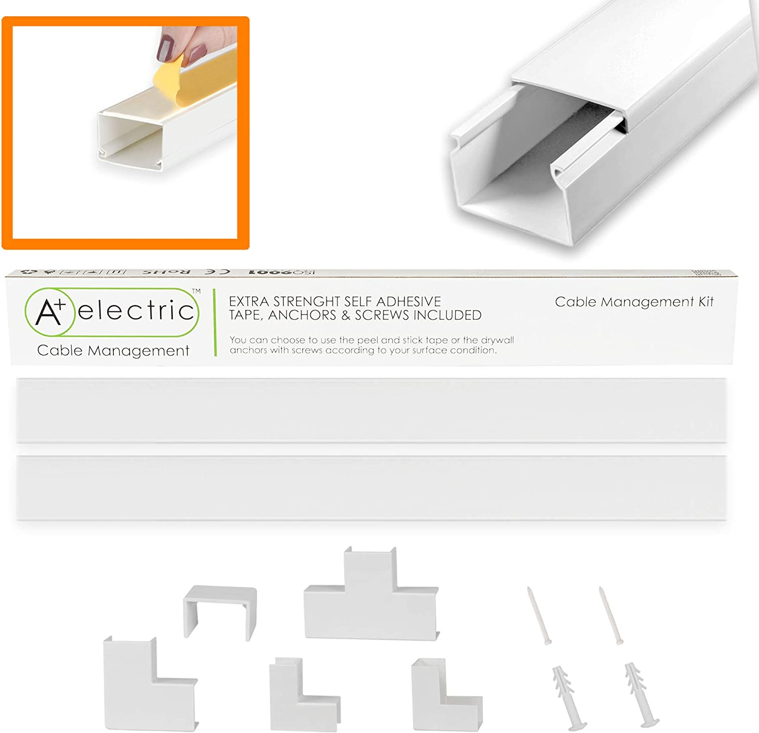 """A+ Electric White Cord Cover 60"""" for Max 8 Cables Cable Raceway Cable Concealer Cord Management Kit Wire Cord Hider Cable Organizer On Wall Self Adhesive Channel"""