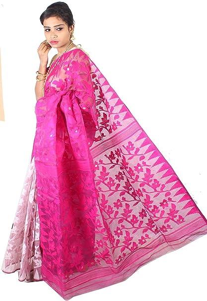 b232a7b6664 A.R SHOP Handloom Dhakai Jamdani Cotton Silk Tant Saree (Pink   White)