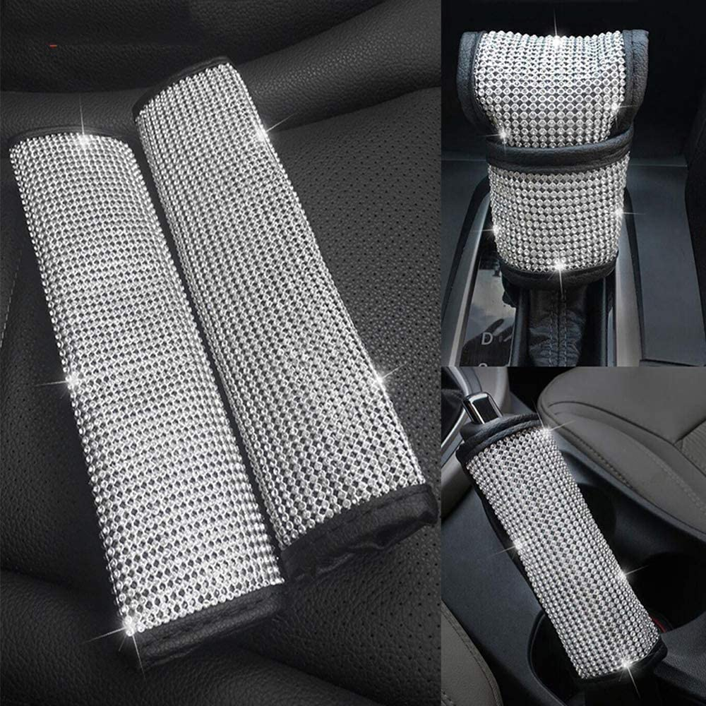 Pinbola Bling Bling Auto Seat Belt Cover /& Handbrake Cover /& Shift Gear Knob Cushion Luster Crystal Diamond Car Decor Accessories Colorful 4 pcs in 1 Set
