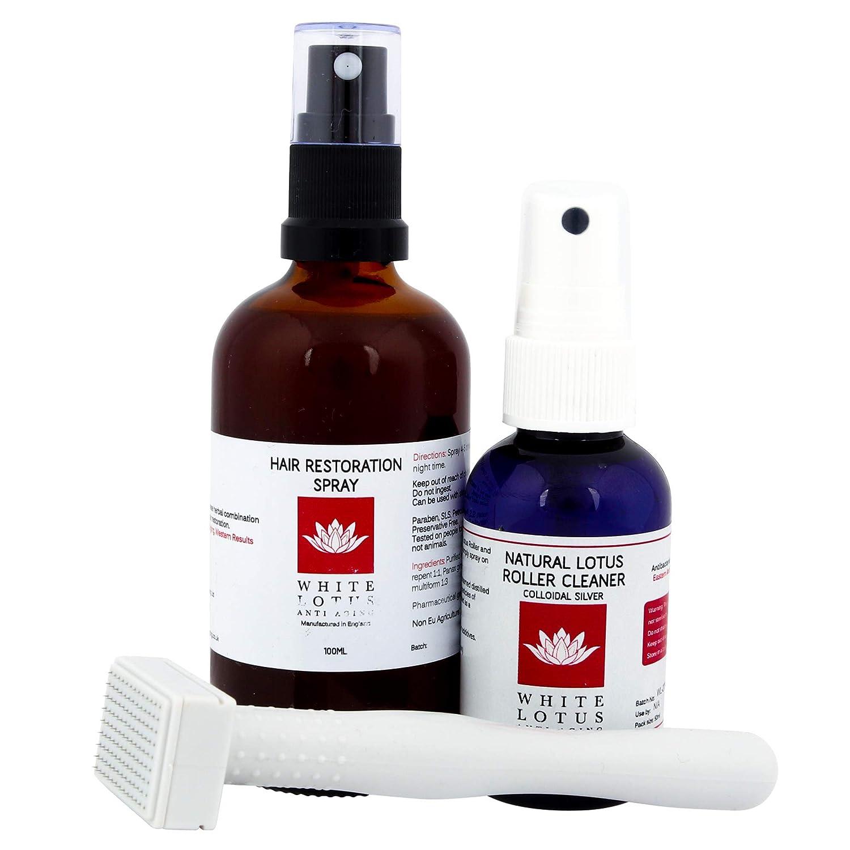 White Lotus Anti Aging - Pack Anticaida Capilar: Dermastamp 1.0mm (Para 1 año) Spray Regenerador de Cabello, (Evita la Caída del Pelo) y Limpiador - Por ...