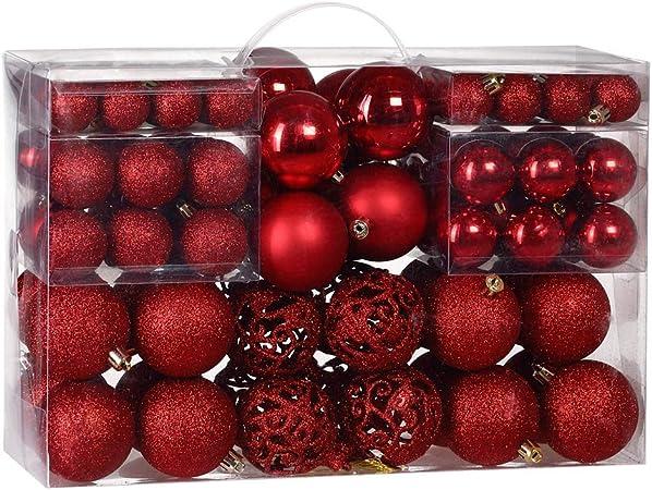 Palline Di Natale.Deuba Palline Di Natale 100 Pezzi Palline Natalizie Decorazioni Natale Palle Albero Di Natale Decorazione Natalizia Rosso Amazon It Casa E Cucina