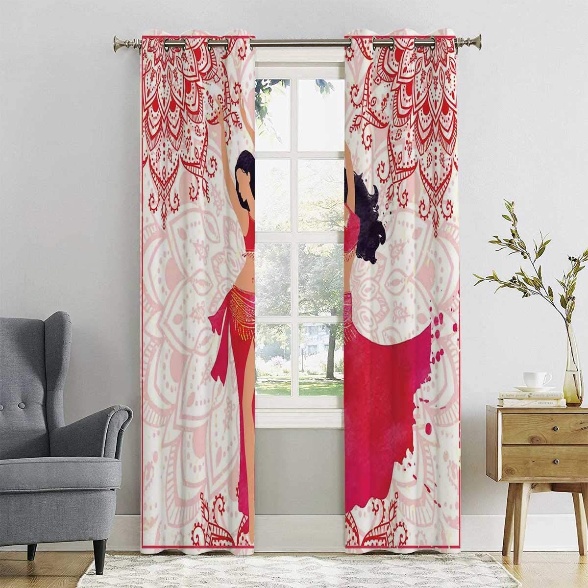 HELLOLEON 100 Blackout Lining Curtain Belly Dancer Woman Full Shading Treatment Kitchen Insulation Curtain W72 x L72 Inch