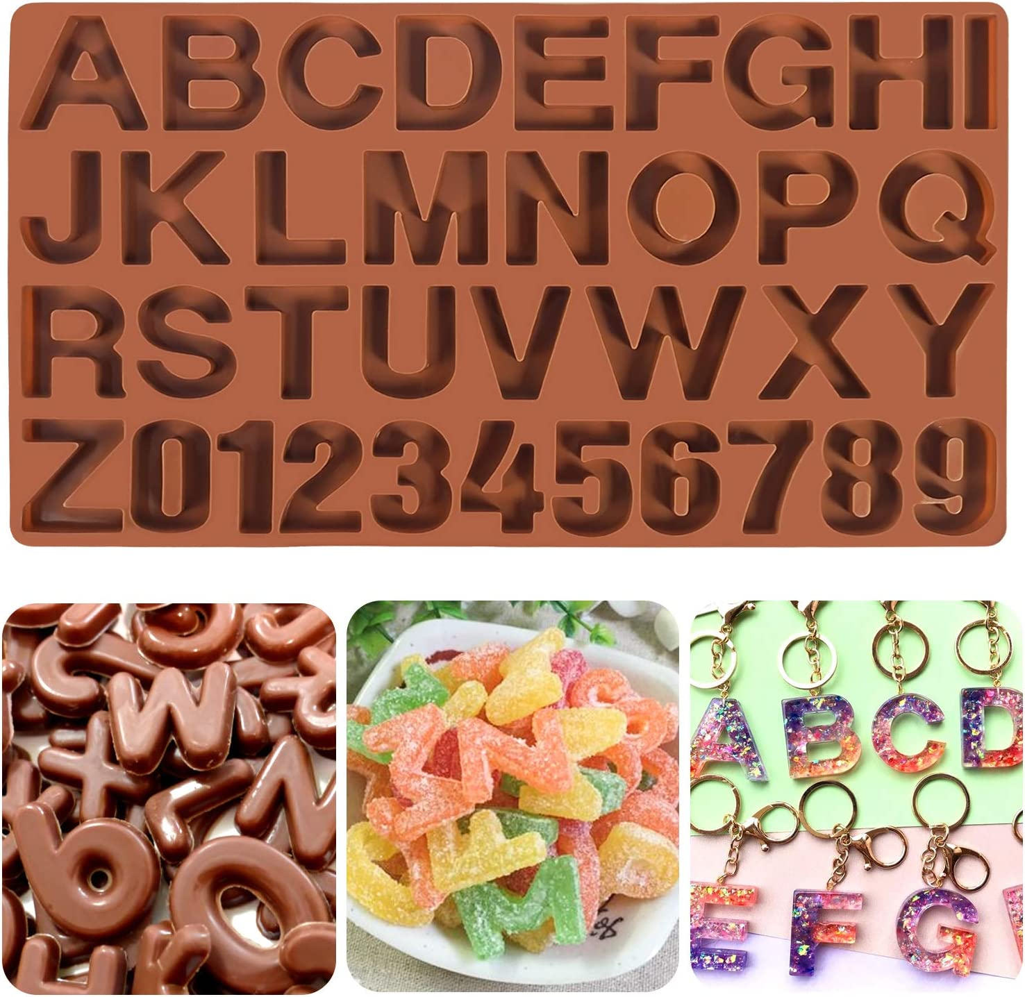 Mity rain Large Letter Silicone mold for Chocolate, Alphabet Number Candy Tray Mold Cake Baking Pan for DIY Cookies, Crayon, Valentine's Day Cake Decorating