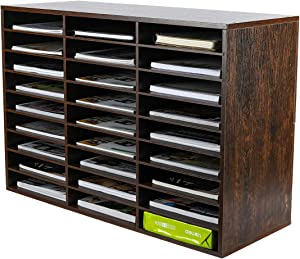 PAG Wood Desktop Literature Organizer Adjustable File Sorter Mail Center Magazine Holder Paper Storage Cabinet Classroom Keepers Mailbox for Office Home School, 27 Compartments, Brown