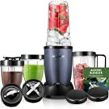 Aicook Smoothie Blender, Personal Blender Single Serve, 15-Piece High Speed Blender for Smoothies and Shakes, Portable Blender BPA Free Tritan Cups 780W, Grey