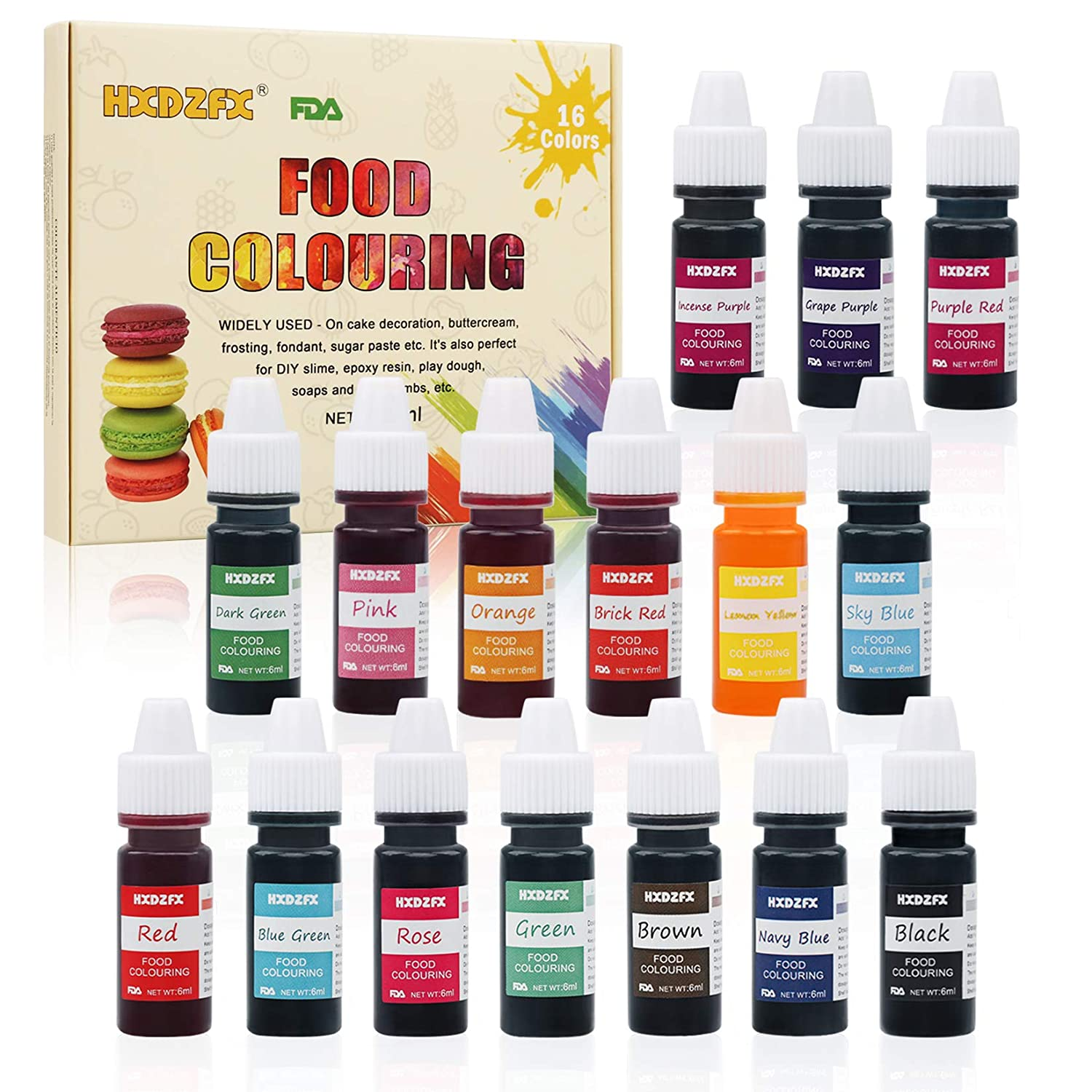 Food Coloring - 16 Color Rainbow Fondant Cake Food Coloring Set for Baking,Decorating,Icing and Cooking - neon Liquid Food Color Dye for Slime Making Kit and DIY Crafts.25 fl.oz.(6ml)Bottles