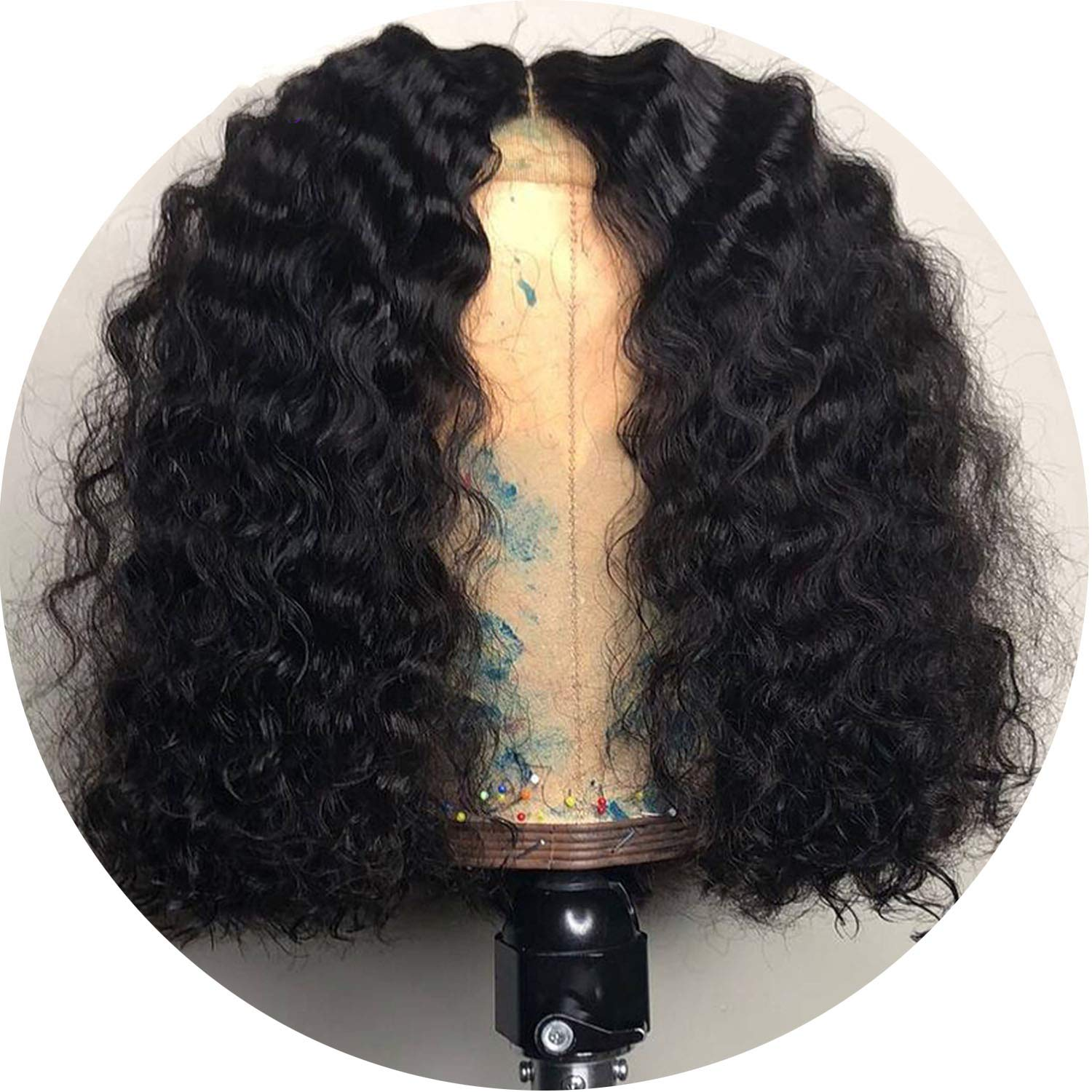 Lace Frontal Wig Pre Plucked With Baby Hair Brazilian Deep Curly Remy Lace Front Human Hair Wigs For Women Glad You Came,#1,16inches,130%