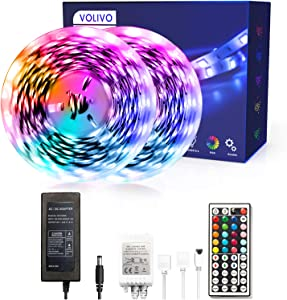 VOLIVO Led Strip Lights 32.8ft, 2 Rolls of 16.4ft RGB 5050 Led Lights for Bedroom, Flexible Color Changing with 44 Key IR Remote for Room Home Kitchen Bed for Home Decoration