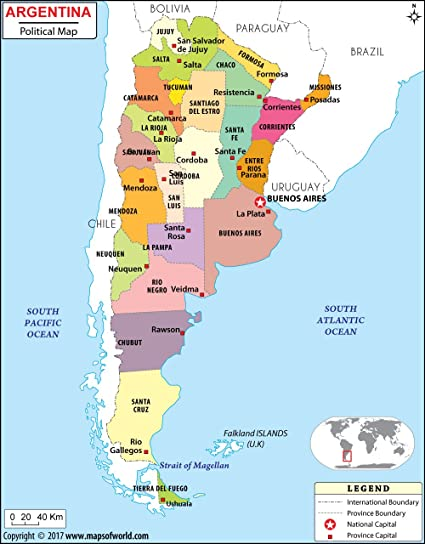 Amazon.: Argentina Political Map   Laminated (36