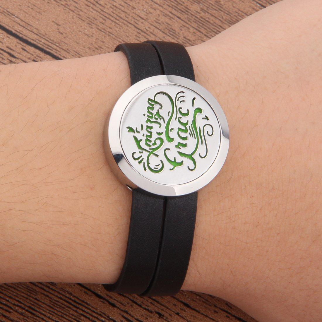 Zuo Bao Stainless Steel Aromatherapy Diffuser Locket Bracelet with Leather Wrap (Bracelet 1)