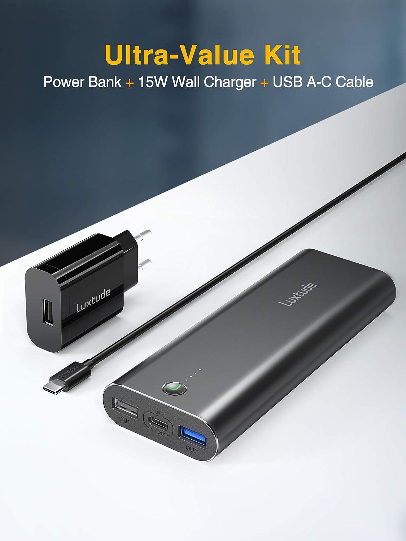 Huawei Bateria Externa Cargador Portatil 3 USB Luxtude Bateria Externa Movil Carga Rapida 18W PD /& QC3.0 Powerbank para la iPhone Honor Cargador incluido Samsung 10000mAh Power bank USB C iPad