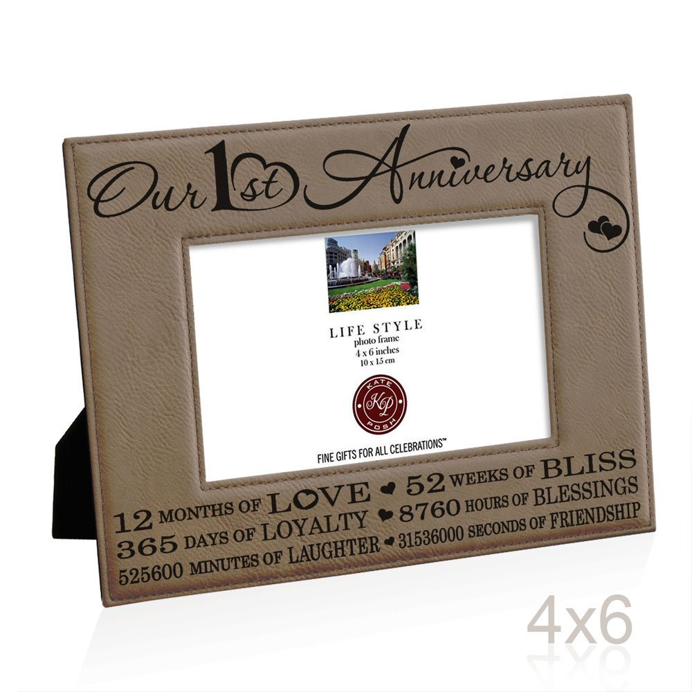 Our First (1st) Anniversary Engraved Leather Picture Frame - Gifts ...