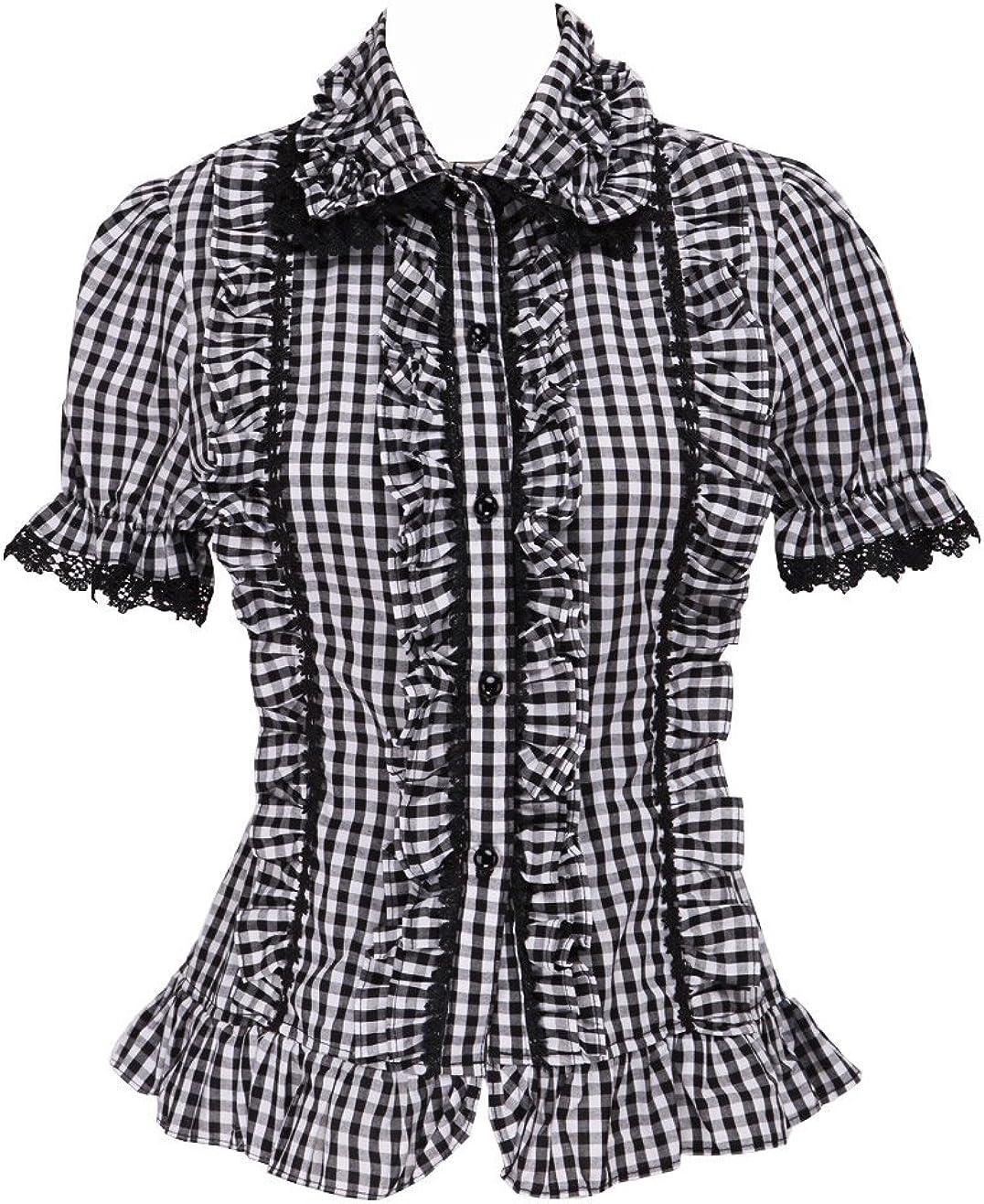 an*tai*na* Negra Algodón Lattice Volantes Encaje Manga de Soplo Kawaii Retro Lolita Camisa Blusa de Mujer: Amazon.es: Ropa y accesorios