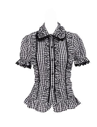 af108e23f170a4 antaina Schwarz Baumwolle Gitter Rüsche Spitze Puff Süß Retro Lolita Hemd  Bluse, XS
