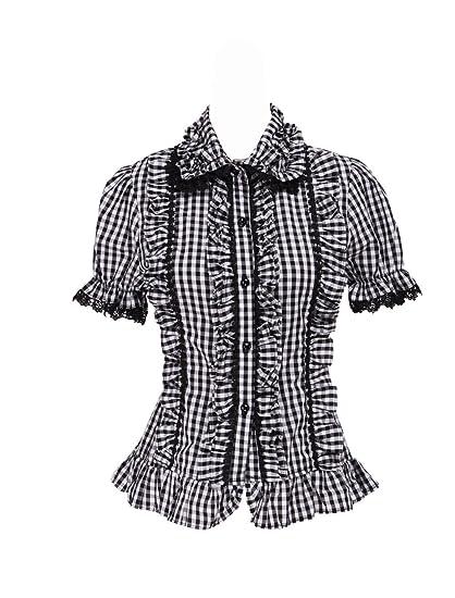 85a2a7020676fc Antaina Black Cotton Lattice Ruffle Lace Puff Sweet Retro Lolita Shirt  Blouse,XS