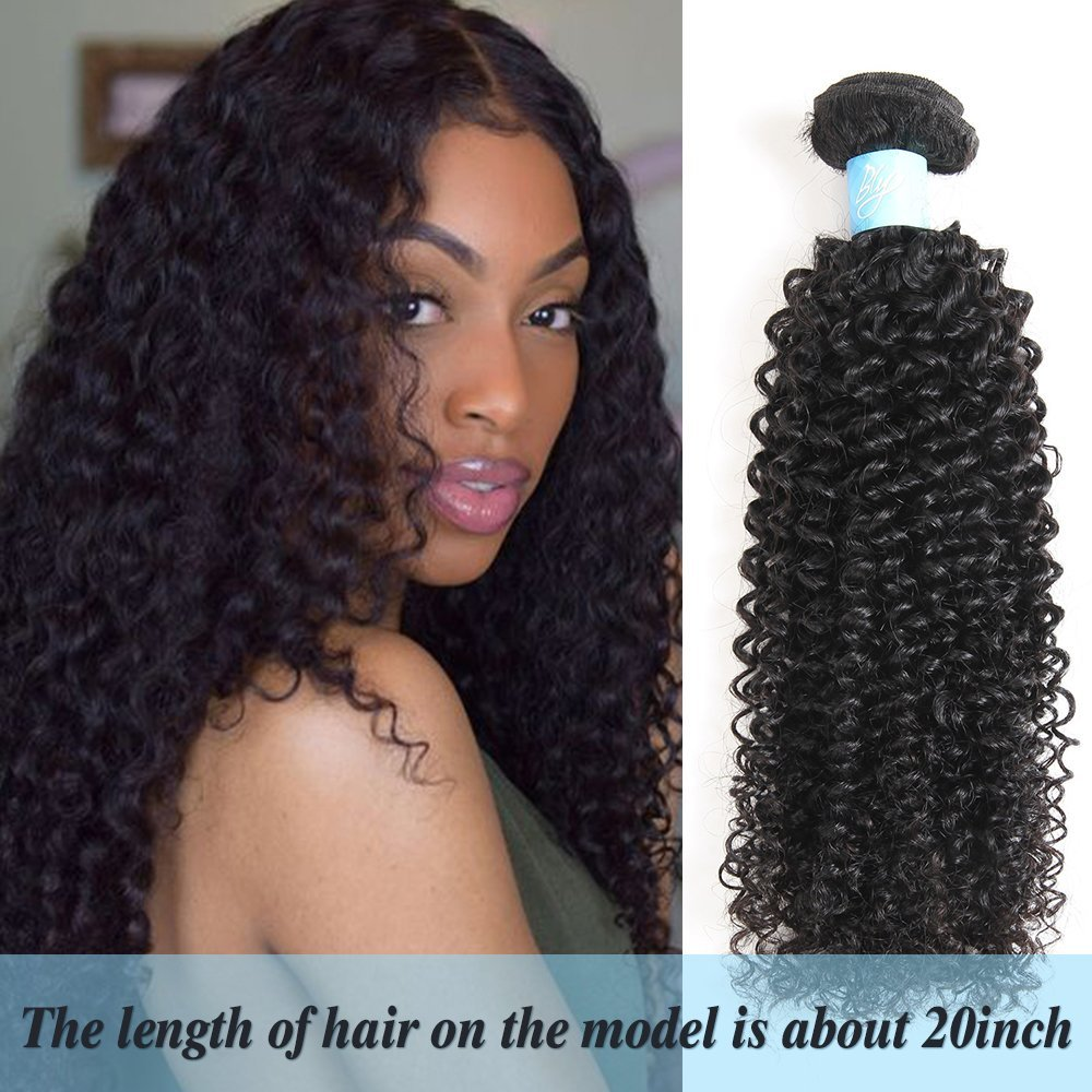 BLY 7A Mongolian Virgin Kinky Curly Human Hair Bundles Extensions 3 Bundles Unprocessed Curly Weave Natural Black Hair(14/16/18 Inch)