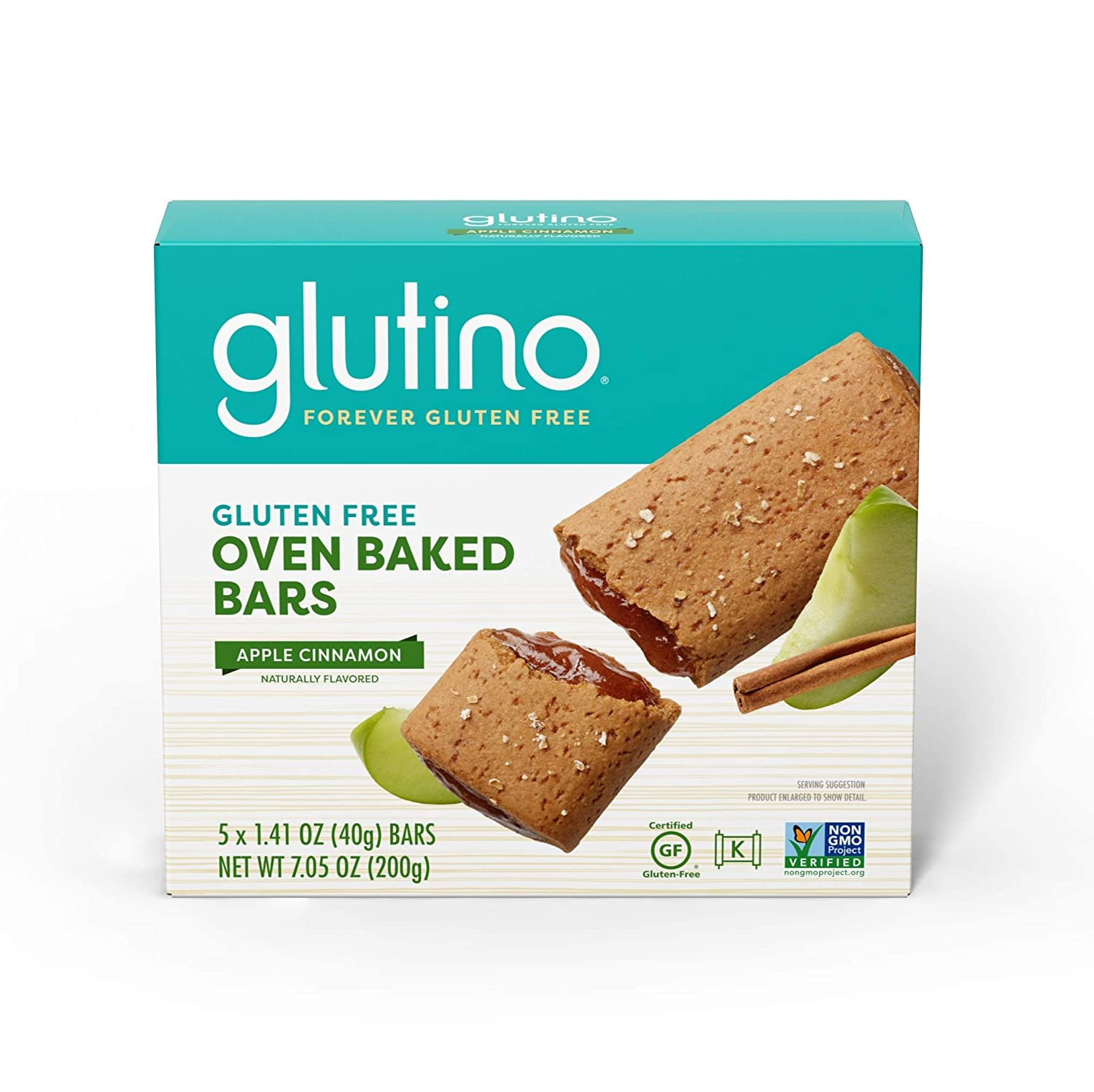 Glutino Free Oven Baked bar, Apple Cinnamon, Naturally Flavored, 5Count (Pack of 12)